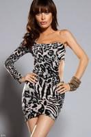 Грандиозные скидки. Платье на одно плечо с вырезами на боку леопардового окраса L2656-2