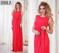 Женское легкое летнее платье в пол с гипюровым поясом в расцветках ДГ747