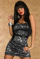 Нереально низкая цена. Стальное платье с черным узором из цветов L2892-1