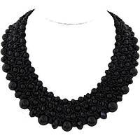 Мега - стильное ожерелье с черным камнями и жемчугом