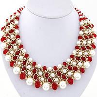 Мега - стильное ожерелье с красным камнями и жемчугом