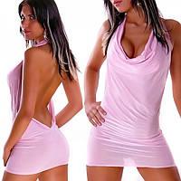 Короткое розовое мини-платье с открытой спиной