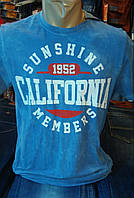 Мужская футболка 16P20 варенка джинс синяя