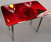 """Стол с фотопечатью на стекле """"Роза и бокалы"""" прямоугольный"""