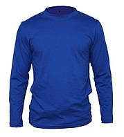 Мужская футболка с длинным рукавом (лонгслив), синего цвета.