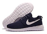 Кроссовки подростковые Nike Roshe Run темно-синие с белым значком, сетка (найк роше ран)