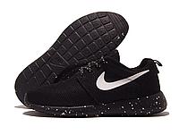Кроссовки подростковые Nike Roshe Run черные с белой точкой, сетка (найк роше ран)