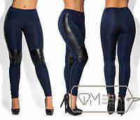 Стильные женские лосины с кожаными вставками в больших размерах h-1515456