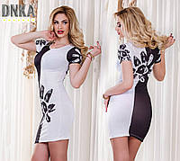 Платье футляр № ат 3225 бело-чёрное (Гл)