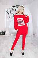 Костюм женский нарядный удлиненная туника + лосины размеры 42 44 46