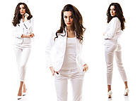 Белый женский костюм трикотаж мемори пиджак + брюки капри размеры 42 44 46