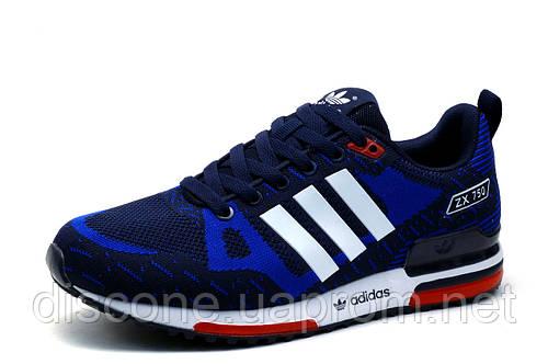 Кроссовки Adidas ZX750, текстиль, женские, подростковые, темно-синие, р.  39