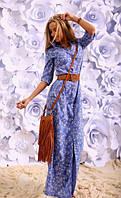 Длинное платье рубашка с цветочным принтом на пуговицах котон-лён размеры 42 44 46