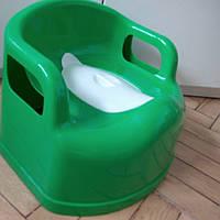 Горшок-стульчик детский с крышкой зеленый