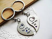 Брелоки для влюбленных «Две половинки сердца», парные брелоки, брелоки для парня и девушки
