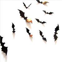 Летючьи мыши 3D чёрные 3Д декор наклейки