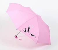 """Зонт женский механический Airton """"Черные коты"""", розовый"""