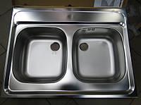 Накладная двойная кухонная мойка Blanco 60 x 80