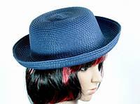 Соломенная шляпа Котелок 27 см синяя