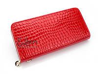 Женский кошелек 0453 (уценка)  на молнии, портмоне клатч красный
