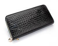 Женский кошелек 0453 (уценка)  на молнии, портмоне клатч черный