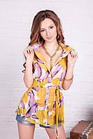 Яркая летняя блузка-рубашка из шифона Горчица