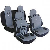 Чехлы для сидений авто серый цвет Milex полный комплект с оплеткой для руля и накидкой на ремни