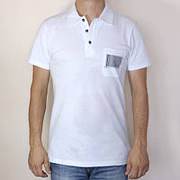 Футболка мужская поло белая с принтом штрих-код Украина, размер 46-52, 100% хлопок, полная распродажа
