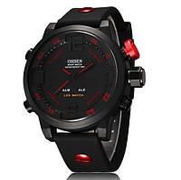 Спортивные водозащитные часы Ohsen AD2820; 5 АТМ, кварцевые, питания CR2032. Цвет: синий, красный.