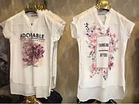 Женская асимметричная шифоновая футболка  (7 видов)