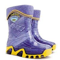 Детские резиновые сапоги Demar джинс р.20-35 голубые с желтым в наличии и под заказ