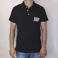 Футболка мужская поло черная с принтом штрих-код Украина, размер 46-52, 100% хлопок, полная распродажа