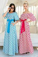 Летнее яркое длинное платье в горошек