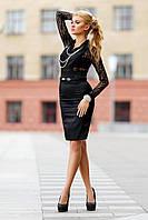 Комбидресс гипюровый в рубашечном стиле Черный