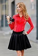 Комбидресс гипюровый в рубашечном стиле Красный