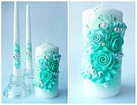Свечи свадебные, набор 3 шт. Цвет мятный.