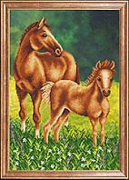 Лошадь с жеребенком (Рисунок на ткани)