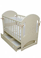 Детская кроватка Маятник ЛД8 Верес (слоновая кость) декор резьба Мишка со стразами