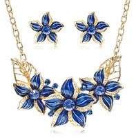 Комплект украшений Цветы синяя эмаль код 981