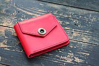 Женский кожаный кошелек Красный Квадрат жіночий шкіряний гаманець