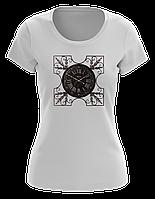 Футболка женская белая, стильный принт - PATTERN CLOCKS