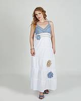 Легкий нежный модный макси-сарафан , белый с цветами