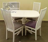 Обеденный комплект стол овальный раздвижной и стулья, цвет белый, ваниль