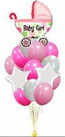 Букет-фонтан из шаров с Колясочкой на Выписку девочки