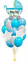 Букет-фонтан из шаров с Колясочкой на Выписку мальчика
