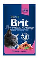 Брит премиум - влажный корм для  кошек  с лососем и форелью, 100гр