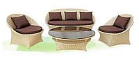 Красивый комплект садовой мебели из искусственного ротанга Вероника: стол, 3-хместный диван, 2 кресла