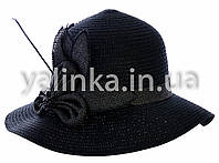 """Шляпа летняя """"Цветочек"""" черная"""