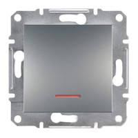 Выключатель одноклавишный  с подсветкой Schneider Electric Asfora сталь
