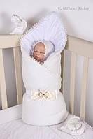 Конверт-одеяло на выписку Lari Мишка. Цвета в ассортименте. Голубой,  розовый, желтый, молочный